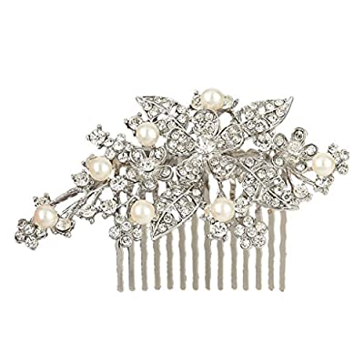 EVER FAITH® Bridal Orchid Leaf Simulated Pearl Hair Comb Clear Austrian Crystal