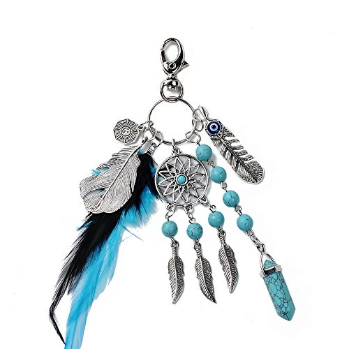 - Dremisland Keychain Keyring Natural Opal Stone Dreamcatcher Keyring Fashion Silver Boho Ornament Feather Keychain (Black and Blue)