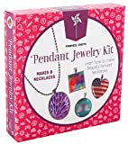 Pinwheel Crafts Girls Jewelry Making Necklace Kit DIY Custom Glass Pendant Necklace Accessory Set for Kids or Teens to Make 8 Necklaces with Step-by-Step Instructions and Craft Supplies