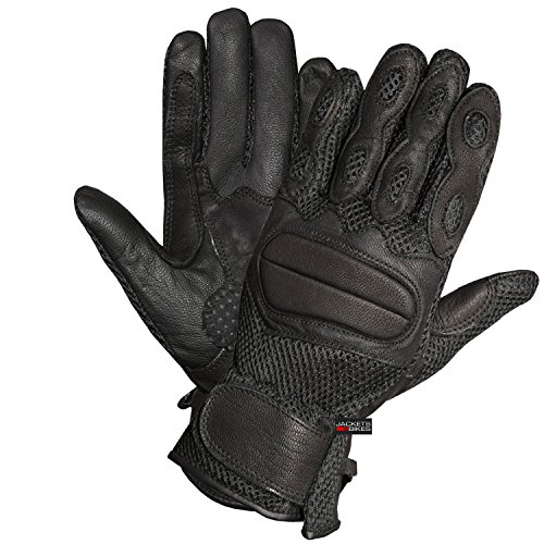 LEATHER MESH ON-ROAD GLOVES MOTORCYCLE BIKE STREET GLOVE BLACK S