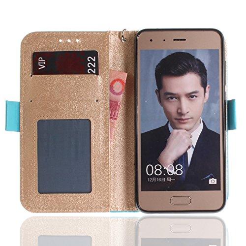 Funda Huawei honor 9,SainCat Funda de cuero sintético tipo billetera con correa de cordón de Suave PU Carcasa Con Tapa y Cartera,Carcasa de Cuero Suave PU Leather de piel mariposa Funda Wallet Case Co Azul cielo