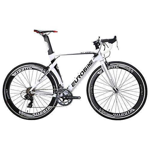 EUROBIKE XC7000 54CM Light Aluminum Frame Road Bike 14 Speed 700C Racing Bicycle White 60 Kingttubike