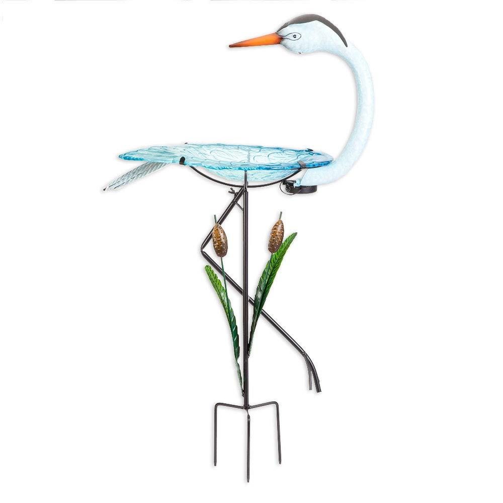 Bits and Pieces - Solar Powered Crane Birdbath - Outdoor Metal Bird Bath Statue - Garden or Yard Décor Sculpture