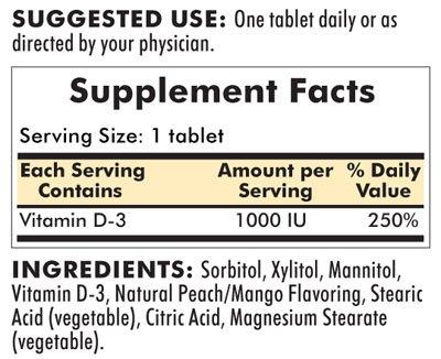 Vitamin D-3 1000 IU Chewable Tablets 90ct.