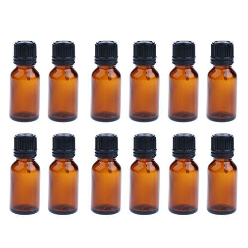 Homyl 12pcs Multi-Size Essential Oil Amber Bottle with Euro Orifice Reducer Dropper for Perfume Aromatherapy - 10ml/15ml/20ml - 10ML
