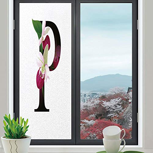 YOLIYANA Frosted Window Film Stained Glass Window Film,Letter P,Work Well in The Bathroom,Lady Slipper Flower with Dark Colored Letter P,24''x70''
