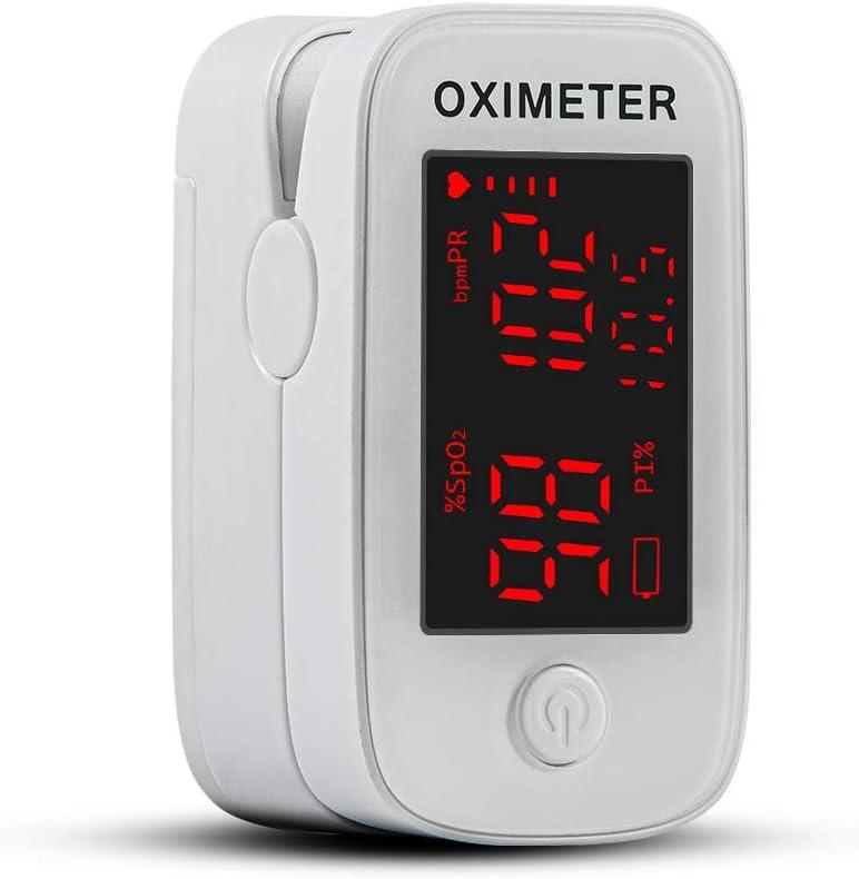 Oxímetro de pulso con punta de dedo Dericam, monitor de saturación de oxígeno en la sangre, medidor de oxígeno Spo2 y frecuencia cardíaca precisa, oxímetro con cordón y baterías, blanco