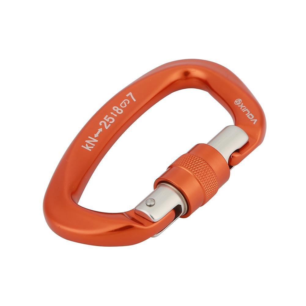 D字型ロックD字型カラビナ合金スチールロッククライミング用ハーネスハンモックフックギア備品。  オレンジ B07HFN6DLZ