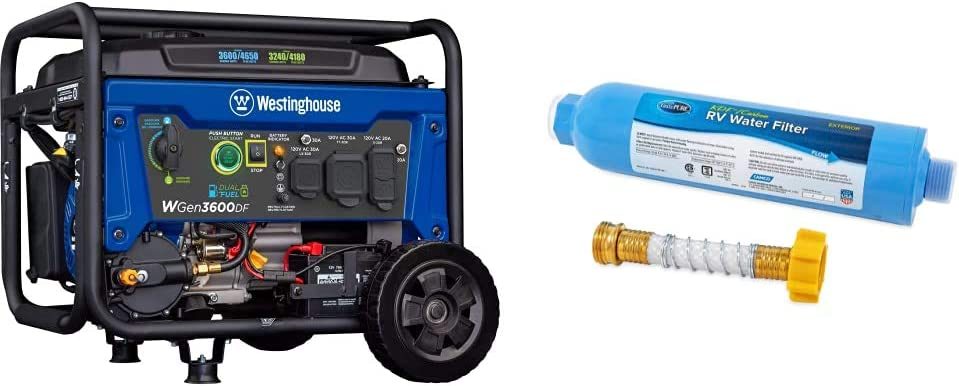Westinghouse Outdoor Power Equipment WGen3600DF Dual Fuel Electric Start Portable Generator & Camco 40043 TastePure RV/Marine Water Filter with Flexible Hose Protector