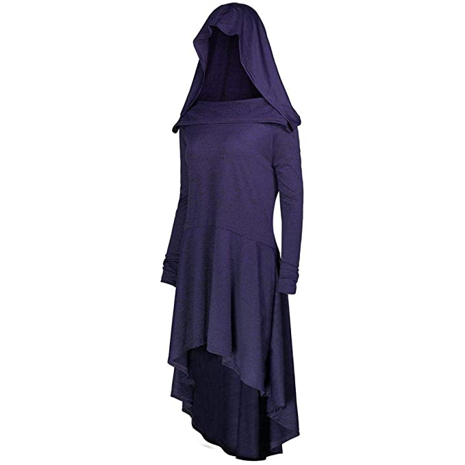 Sexy Women Plus Size Dresses Vovotrade Ladies Casual Lace up Hooded Irregular Loose Dress(Purple