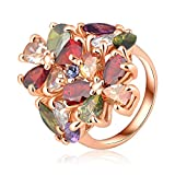 99 cent free shipping - LuckyWeng New Exquisite Fashion Jewelry Rose Gold Austrian Crystal Multicolour Diamond Flower Zircon Ring