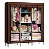 GTC 6+2 Layer Fancy and Portable Foldable Closet Wardrobe Cabinet Portable Multipurpose Clothes Closet Portable Wardrobe Storage Organizer with Shelves Folding Wardrobe Cupboard Almirah Foldable Storage Rack Collapsible Cabinet (Need to Be Assembled) ( 88130 ) (Brown)