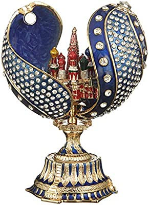 danila-souvenirs Russian Faberge Style Twisted Egg with Moscow St-Basils Cathedral 4.8 red