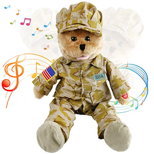 Houwsbaby American GI Teddy Bear Musical Animated Soldier Hero Stuffed Animal Sings God Bless The USA