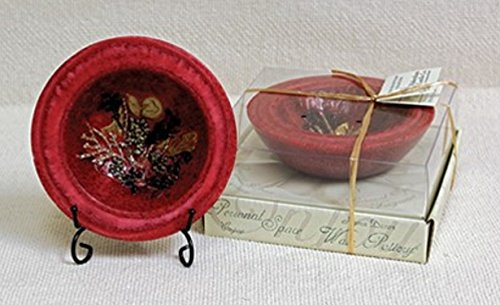 - Habersham - Cranberry Spice Wax Pottery Bowl 7 inch with Free Stand