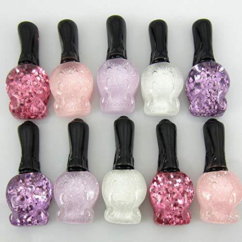 (50Pcs 1 Mixed Resin Flatback cabochons Shining Soild Perfume Bottle for Craft)