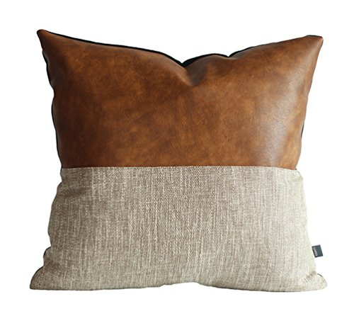 Kdays Halftan Pillow Cover Designer Modern Throw Pillow Cover Decorative Faux Leather Pillow Cover Handmade Cushion Cover 18x18 -