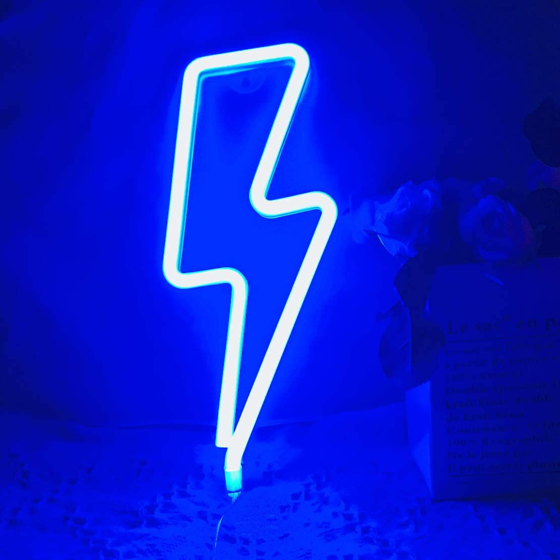 Blue Lightning Neon Light,LED Lightning Sign Shaped Decor Light,Wall Decor for Christmas,Birthday Party,Kids Room, Living Room, Wedding Party Decor
