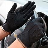 超 薄手 春夏 UV 対策 メッシュ グローブ 手袋 タッチ パネル 可 滑り止め 付 サイクリング ドライブ (ブラック A)