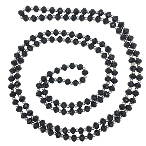 Long All Glass Beveled Beaded Simple Necklace (Black)