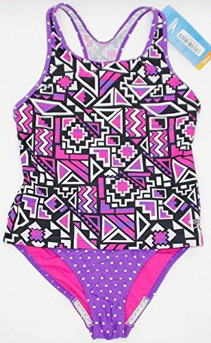 2 Piece Girls Toddler Tankini (Speedo Girls' 2-Piece Swimsuit Tankini Purple Geo (14, Purple Geo))