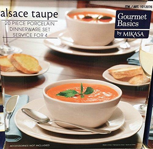 Mikasa Alsace Porcelain 20 Piece Dinnerware Set (Taupe) For Sale