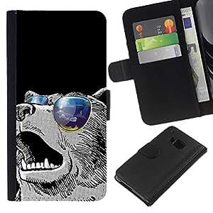 All Phone Most Case / Oferta Especial Cáscara Funda de cuero Monedero Cubierta de proteccion Caso / Wallet Case for HTC One M7 // Cool Sunglasses Bear