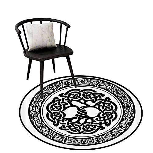 - Flexible Round Rug Celtic Decor Easy to Care Native Celtic Tree of Life Figure Ireland Early Renaissance Artsy Medallion Design Black White D16(40cm)