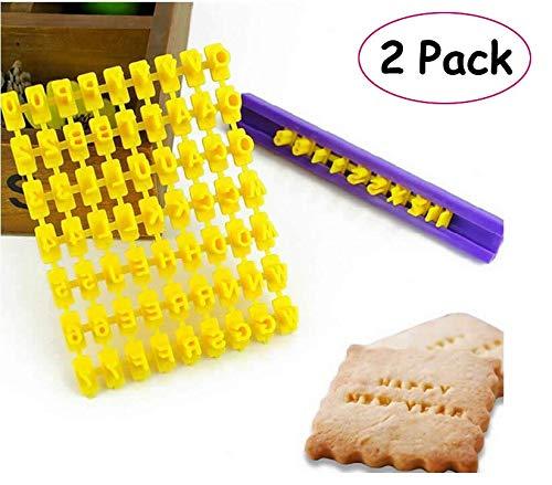 - Pack of 2 Alphabet Letter Number Biscuit Cookie Cutter Press Stamp Embosser Cake Mould