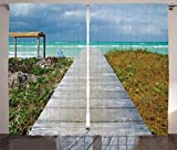 Ambesonne Seaside Decor Collection, A View of a Wooden Footbridge on a Cuban Beach Horizon Cloudy Sky Nature Picture, Living Room Bedroom Curtain 2 Panels Set, 108 X 90 Inches, Aqua Blue Beige