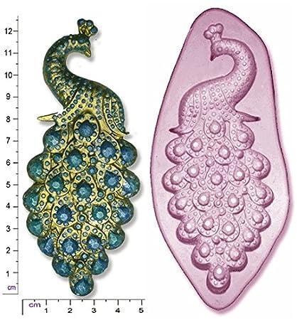 Molde de silicona para figuras de azúcar, diseño de pavo real