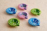 Set of 6 Diwali Decorations Colorful Oil Lamp Diya For Pooja/Puja Home Decor (Multicolor4)