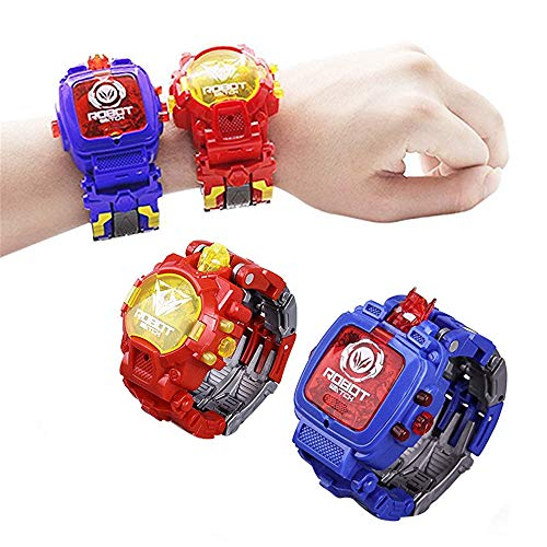 Fullwei 2 PCS Transforming 2 in 1 Robot Watch Digital Electronic Watch Robot Watch Transform Watch for Kids Suitable for Boys and Girls 3 Years Old and Above (Blue+Red)