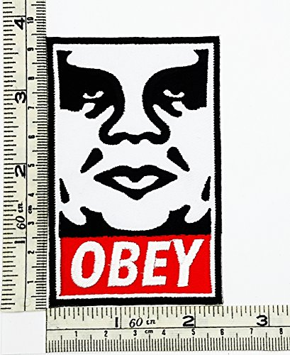 Black Obey Rock Music Band Patch Embroidered Iron on Hat Jacket Hoodie Backpack Ideal for Gift - Obey Rock