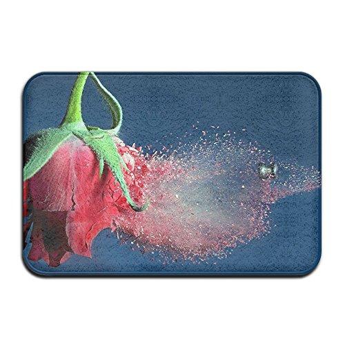 REOLITUY Red Rose Theme Anti-slip Door Mat Home Decor Indoor Outdoor Entrance Doormat Rubber Backing 23.6 X 15.7 ()