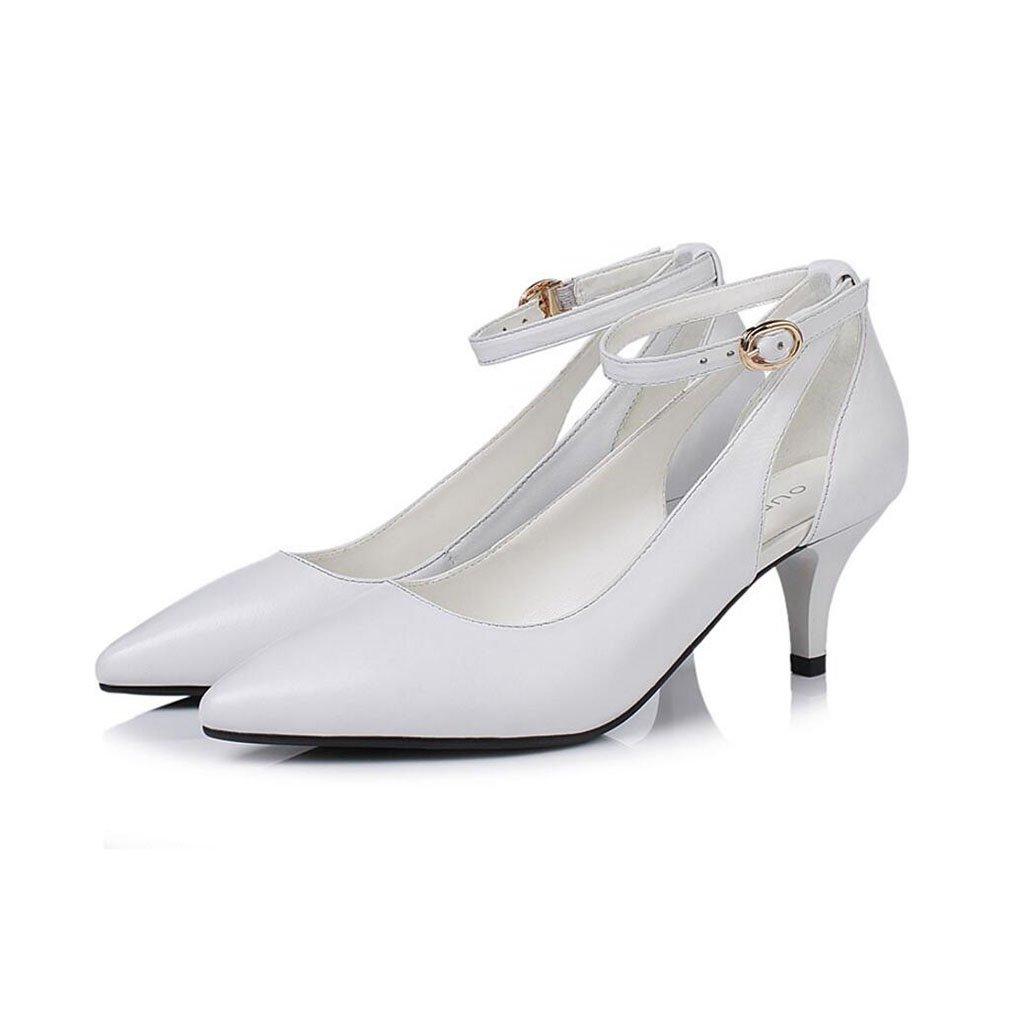 Pumps XUERUI Ms. High Heels Stilettos Hochzeitszeremonie Graduierung Arbeiten Brautschuhe 5cm Absatz (Farbe   Weiß, größe   EU39 UK6 CN39)