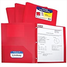 C-Line Two-Pocket Heavyweight Poly Portfolio with Prongs, for Letter Size Papers, Includes Business Card Slot, 1 Portfolio, Red (33964)