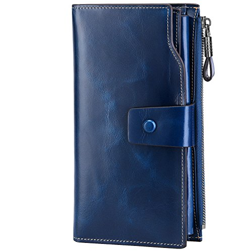 S-ZONE Women Purses First Layer Genuine Leather RFID Blocking Wallet Large Capacity Wax Wallet with 21 Card Slots with Zipper Pocket Ladies Phone Purse