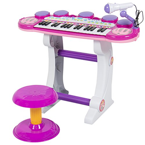 Best Choice Products 37-Key Kids Electronic Musical Instrument Piano Toy Keyboard w/ Record and Playback, Microphone, Synthesizer, Stool - Pink