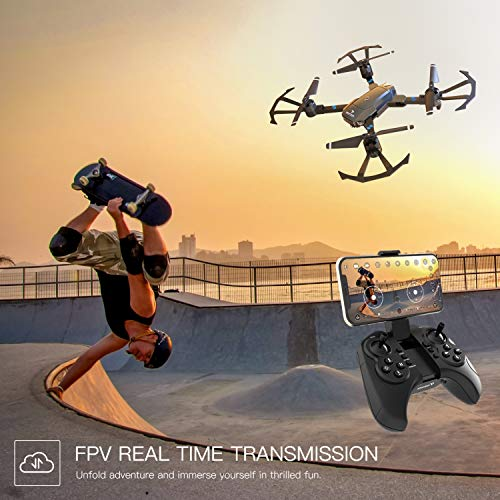 SNAPTAIN A15H Foldable FPV WiFi Drone w/Voice Control/120°Wide-Angle 720P HD Camera/Trajectory Flight/Altitude Hold/G-Sensor/3D Flips/Headless Mode/One Key Return/2 Modular Batteries/App Control