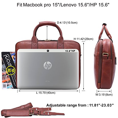Banuce Full Grain Leather Briefcase for Men Business Tote Messenger Bag 14″ Laptop Bag