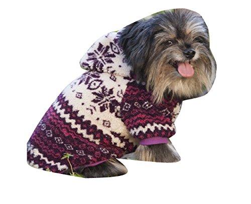 Fashion Pet Sherpa Printed Dog Coat, X-Small, Plum