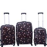 Cheap American Flyer Swirl 3 Piece Spinner Luggage Set (Chocolate)