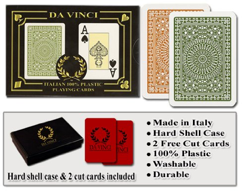 Poker Playing Cards Set - Da Vinci Club Casino, Italian 100% Plastic Playing Cards, 2-Deck Set Poker Size Jumbo Index, with Hard Shell Case & 2 Cut Cards