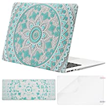 Mosiso Plastic Hard Case with Keyboard Cover with Screen Protector for MacBook Air 13 Inch (Model: A1369 and A1466), Hot Blue and White Mandala