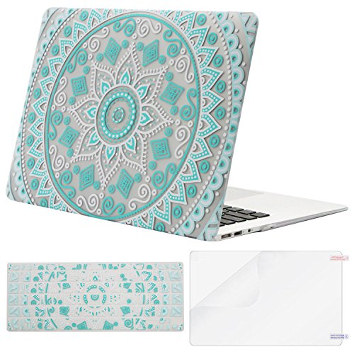 MOSISO Plastic Flower Pattern Hard Case & Keyboard Cover & Screen Protector Only Compatible MacBook Air 13 Inch (A1369 & A1466),Not Compatible 2018 Version A1932 with Retina Display, Hot Blue Mandala