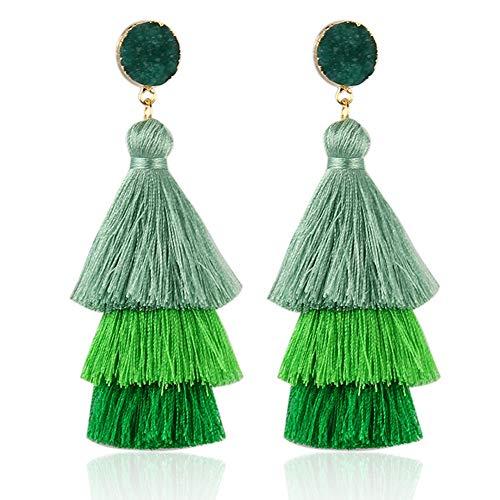 Colorful Layered Tassel Earrings Bohemian Dangle Drop Tiered Tassel Long Stud Earrings Gifts for Women Girls