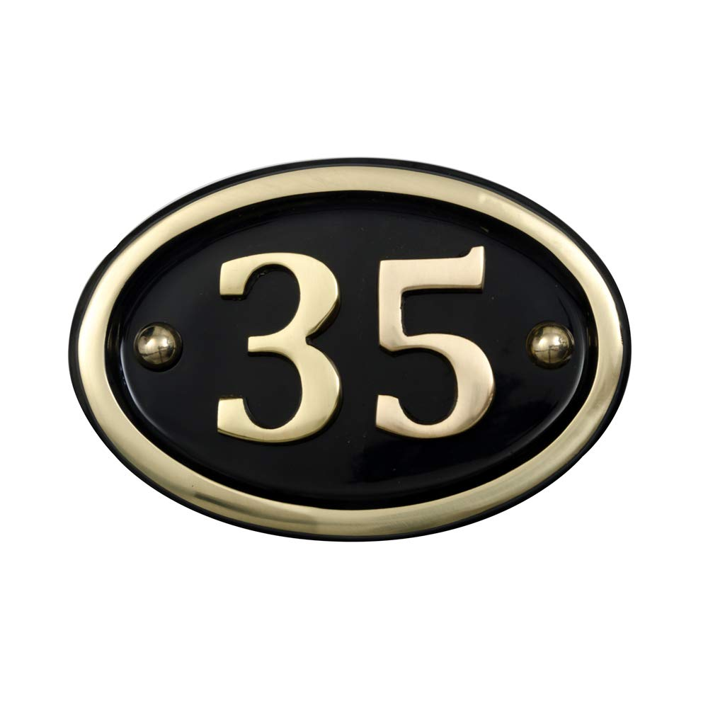 N/úmero de casa ovalado de lat/ón Number 36 Black and Brass