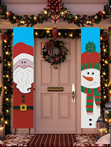 Funnlot Christmas Porch Sign Xmas Decorations Outdoor Santa Clause and Snowman Merry Christmas Hanging Banners Xmas Front Door Porch Decor Holiday For Christmas Home Indoor Outdoor Wall Party Supplies (Hanging Outdoor Wall Decorations)