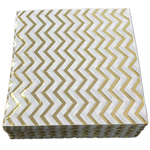 Decorative Paper Napkins,Ripple Gold Mix Yellow,2-Ply,Folded 6.5x6.5 Inches,Cocktail Beverage Napkins for Big Party Pack of 50 Pieces,Ideal for Wedding,Birthday,Dinner,Lunch - Mix Napkin Cocktail